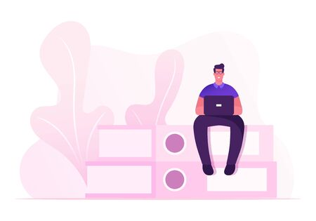 Paperwork and Office Routine Concept. Businessman Office Employee Male Character Overload at Work. Man with Laptop Sitting on Top of Huge Steak of Document Folders. Cartoon Flat Vector Illustration