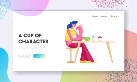 Young Woman Drinking Tea with Cake in Modern Restaurant Website Landing Page. Female Character Visiting Bakehouse Cafe Sitting at Table in Cafeteria Web Page Banner. Cartoon Flat Vector Illustration