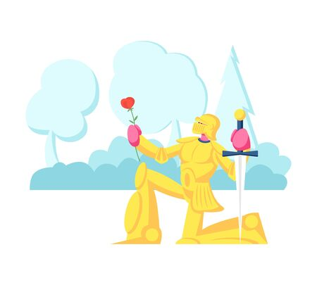 Knight in Gold Sparkling Armor Stand on Knee with Sword and Rose Flower Giving Oath or Love Confession. Historical, Fairy Tale Scene, Actor Playing Role in Movie. Cartoon Flat Vector Illustration Illustration