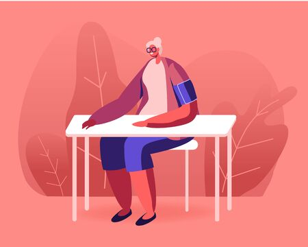 Senior Woman with Tonometer Cuff on Shoulder Measuring Arterial Blood Pressure Sitting at Table. Hypertension or Hypotension Disease, Cardiology Health Care Check Up. Cartoon Flat Vector Illustration Çizim