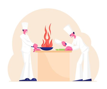 Chef and Sous-Chef Characters in White Uniform and Toque Cooking in Restaurant. Professional Cooks Preparing Food on Kitchen, Slicing Vegetables on Table, Burning Pan. Cartoon Flat Vector Illustration