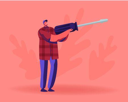 Concept de service de réparation. Homme tenant un énorme tournevis. Petit bricoleur technique de fixation ou d'assemblage, meuble ou smartphone. Ingénieur de caractère masculin avec instrument. Illustration vectorielle plane de dessin animé