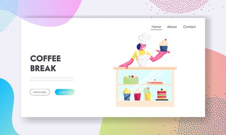 Coffee Shop or Cafe Website Landing Page. Baker in White Uniform and Toque Stand at Showcase with Sweet Production Assortment Holding Cake in Bakery Web Page Banner. Cartoon Flat Vector Illustration
