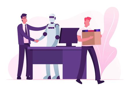 Automation, Futuristic Technologies and Artificial Intelligence Concept. Human Vs Robot. Boss Shaking Hand to Cyborg Taken in Office instead of People Man Worker Fired Cartoon Flat Vector Illustration
