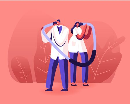 Doctors Characters Hold Huge Stethoscope Temples Listen Patient Heart Beating. Arterial Blood Pressure, Healthcare Checkup Concept. Medical Equipment Monitoring Health Cartoon Flat Vector Illustration