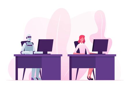 Artificial Intelligence and Human Resources Concept. Businesswoman Character and Robot Working in Office Together Sitting at Desk with Computer Futuristic Technologies Cartoon Flat Vector Illustration