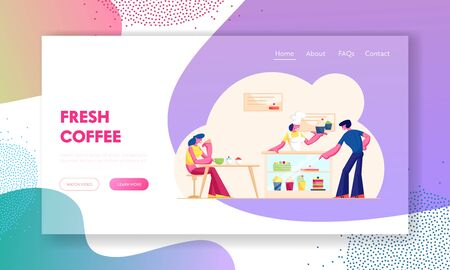 People Visiting Cafe or Bakehouse Website Landing Page. Saleswoman Stand at Desk with Pastry Giving Cake to Customer in Bakery Shop. Staff Serve Client Web Page Banner Cartoon Flat Vector Illustration 일러스트