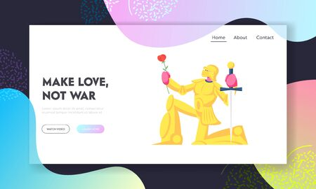 Historical or Fairy Tale Scene,Website Landing Page. Knight in Gold Sparkling Armor Stand on Knee with Sword and Flower Giving Oath or Love Confession Web Page Banner. Cartoon Flat Vector Illustration Vector Illustratie