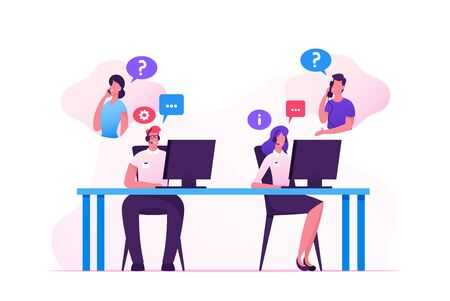Hotline Operators Help Clients to Solve their Problems. Smiling Friendly Male and Female Call Center Receptionists with Headset Working on Support Customers Line. Cartoon Flat Vector Illustration