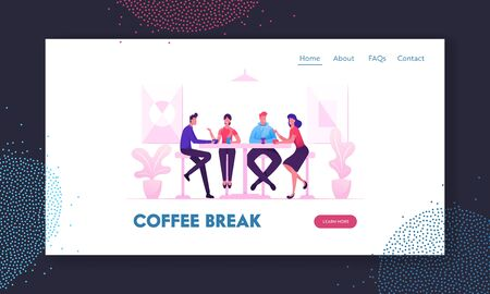 Friends Meeting in Cafe or Bar Website Landing Page. Company of Young People Having Coffee or Meal in Modern Restaurant Communicating and Chatting Web Page Banner. Cartoon Flat Vector Illustration