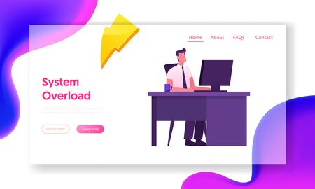 Company Worker Sitting at Desk Work on Pc Website Landing Page. Business Man Working on Personal Computer at Office Workplace.Manager Occupation, Job Web Page Banner. Cartoon Flat Vector Illustration