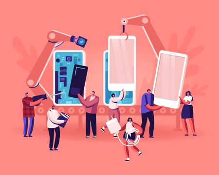People Assembling and Using Smartphones Concept. Tiny of Men and Women Holding Cellphones, Memory Card and Charger, Robot Arms Assemble Mobiles on Plant. Mobile Phones Cartoon Flat Vector Illustration