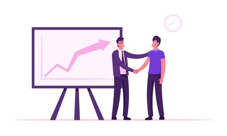 Confident Businessman Company Boss Shaking Hand to Office Employee Standing at Chartboard with Growing Arrow Graph. Director Congratulate Worker for Successful Work. Cartoon Flat Vector Illustration Ilustración de vector