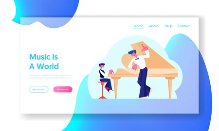 Musical Education Website Landing Page. Little Boy in Concert Dress Training on Grand Piano with Help of Experienced Teacher. Young Pianist on Stage Web Page Banner. Cartoon Flat Vector Illustration Çizim