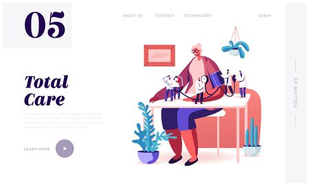 Health Care Check Up. Website Landing Page. Tiny Doctors Characters Measuring Arterial Blood Pressure with Tonometer at Senior Woman Sitting at Table Web Page Banner. Cartoon Flat Vector Illustration