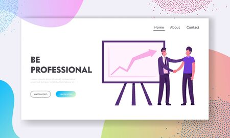 Director Congratulate Worker for Successful Work Website Landing Page. Boss Shaking Hand to Employee Standing at Chartboard with Growing Arrow Graph Web Page Banner. Cartoon Flat Vector Illustration