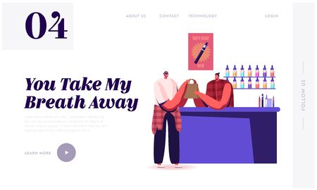Vape Shop Business Website Landing Page. Hipster in Store Selling Electronic Cigarette Production to Client at Counter Desk with E-liquids, Vaping Web Page Banner. Cartoon Flat Vector Illustration Standard-Bild - 135761699