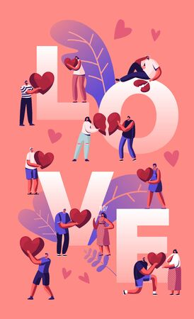 Love and Heartbreak Concept. Happy Couples Sparetime, Holding Heart. Unhappy Heartbroken People Parting, Divorce, End of Relations Poster Banner Flyer Brochure. . Cartoon Flat Vector Illustration