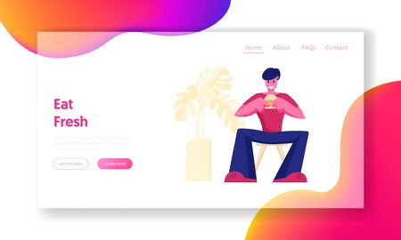 Relaxing Business Lunch Time Website Landing Page. Hungry Male Character Eating Hamburger Sitting in Fast Food Cafe. Hospitality Service, Gastronomy Web Page Banner. Cartoon Flat Vector Illustration Vektorgrafik