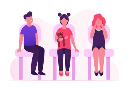 Group of Little Children Sitting on Chairs Waiting Medical Checkup or Vaccination in Hospital. Scared Girl Close Eyes. Illness Prevention, Kids Immunization Procedure. Cartoon Flat Vector Illustration