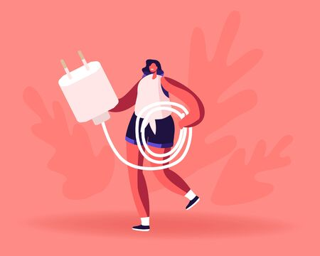 Woman Carry Cellphone Charger Wire for Charging Smartphone. Tiny Female Character with Usb Cable for Mobile Phone People Use Smart Digital Technologies and Accessories Cartoon Flat Vector Illustration