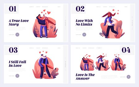 Couple Romantic Relations Website Landing Page Set. Man Riding Girlfriend on Back and Holding on Hands. Loving Hearts Connection, Love and Romance Web Page Banner. Cartoon Flat Vector Illustration