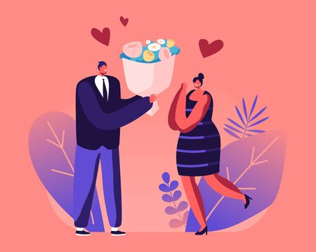 Couple Having Dating. Man Give Present to Girlfriend. Cute Surprised Girl Happy to Get Bouquet of Flowers from Boyfriend for Valentine Day Holiday. Love Human Relation Cartoon Flat Vector Illustration Ilustração