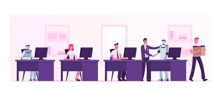 オートメーション、人工知能、人間対ロボット。ボスはサイボーグに手を振る人々と同等のオフィスで働いています。生きているとデジタル労働者  イラスト・ベクター素材