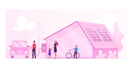Eco House, Renewable Energy and Environment Protection Concept. Futuristic Technologies for Home. Solar Panelson Building Roof, Man Charging Electric Car in Yard. Cartoon Flat Vector Illustration