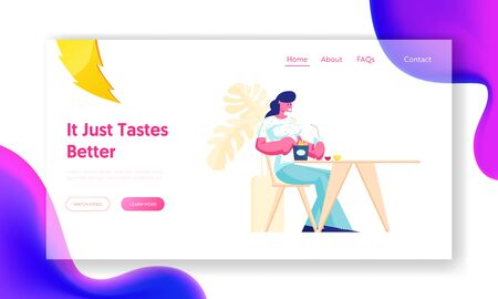Woman Visiting Fast Food Cafe Website Landing Page. Female Character Sitting at Table Eating Fried Potato and Drinking Soda Beverage in Restaurant Web Page Banner. Cartoon Flat Vector Illustration
