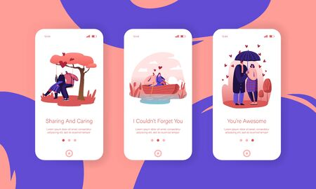 Loving Relations Mobile App Page Onboard Screen Set. Couple Spend Time Together Walking under Umbrella, Floating Boat and Riding Swing Concept for Website or Web Page, Cartoon Flat Vector Illustration