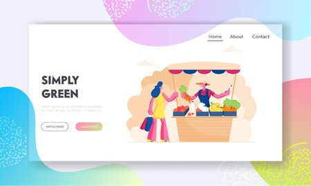 Outdoors Farm Market Website Landing Page. Farmer Sell Fresh Vegetables and Dairy Products to Woman Customer at Counter Desk. Ecological Healthy Food Web Page Banner. Cartoon Flat Vector Illustration