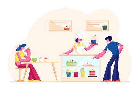 People Visiting Cafe or Bakehouse. Saleswoman in Cap and Apron Stand at Desk with Pastry Giving Cake to Customer in Bakery Shop. Woman Staff Serve Clients in Bakery. Cartoon Flat Vector Illustration 일러스트