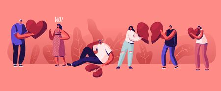 Lovers in End of Loving Relations Concept. Young Man and Woman Pull Apart Broken Heart Parts Blaming Each Other Feel Great Sorrow. Disagreement, Cheating and Parting. Cartoon Flat Vector Illustration