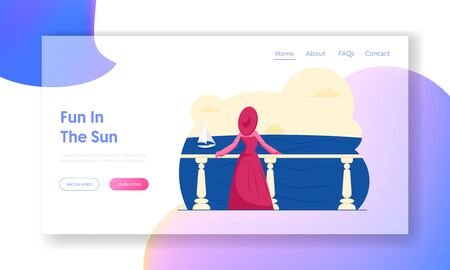 Happy Holiday, Summer Enjoy on Seaside Website Landing Page. Woman in Elegant Gown and Broad-brim Stand