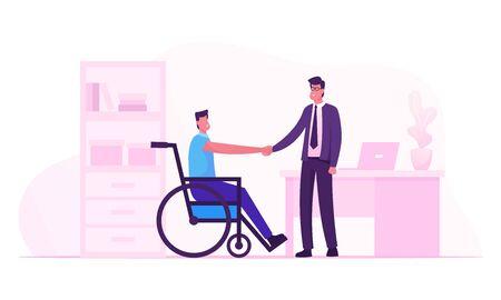 Behindertenarbeit, Arbeit für behinderte Menschen Konzept. Behinderter Mann sitzt im Rollstuhl und schüttelt die Hand mit Chef oder Kollegen im Büro und stellt neue Arbeitsplatz-Karikatur-flache Vektor-Illustration vor Vektorgrafik