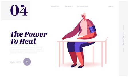 Old Lady Medical Check Up in Clinic Website Landing Page. Senior Woman Sitting at Table with Tonometer Cuff on Shoulder Measuring Blood Pressure Web Page Banner. Cartoon Flat Vector Illustration