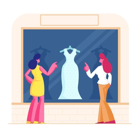 Young Stylish Women Stand at Showcase Looking on Fashioned Dress in Store. Girls Choose Garment Standing at Apparel Boutique. Female Characters Shopping Spare Time. Cartoon Flat Vector Illustration