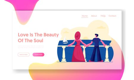 Woman and Man Relaxing at Sea Website Landing Page. Young Couple Stand on Outdoor Terrace Looking on Beautiful Seascape Ilustracja