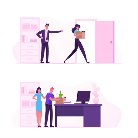 Angry Boss Shouting and Pointing on Door to Sad Worker Carry Belongings in Box. Fired Employee Leaving Office with Things in Cardboard Package. Career Failure Dismiss Cartoon Flat Vector Illustration