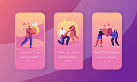 Ensemble d'écrans embarqués de la page de l'application mobile Love Engagement. Homme debout sur le genou faisant une proposition à une femme lui demandant de l'épouser. Concept d'amour et de mariage pour site Web ou page Web, illustration vectorielle plane de dessin animé