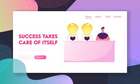 Ideas Sale Market Website Landing Page. Young Man Inventor or Businessman Sitting at Desk with Huge Glowing Light Bulbs Illustration