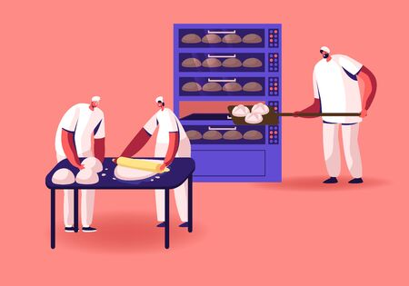 Bakery Factory and Food Production Concept. Bakers Characters Kneading Dough and Put Raw Bread Loafs to Oven for Baking. Workers on Modern Confectionery Manufacture. Cartoon Flat Vector Illustration