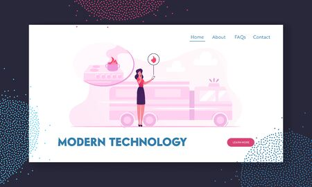 Emergency Service Website Landing Page. Woman Getting Notification from Smart Control System Electronic Device Smartphone about Fire Accident at Home Web Page Banner. Cartoon Flat Vector Illustration