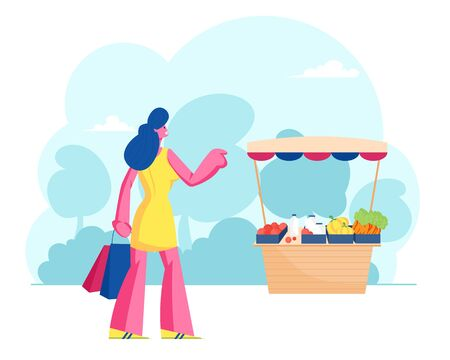 Woman Buyer Stand at Desk with Farmer Fresh Vegetables on Market. Customer Visit Outdoors Farm Marketplace, Purchaser Character Buying Ecological Healthy Organic Food. Cartoon Flat Vector Illustration
