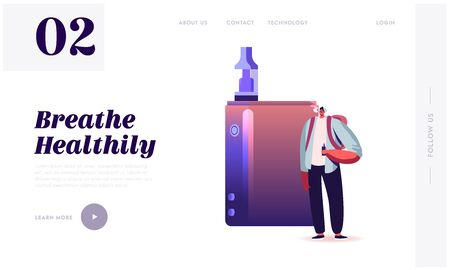 Nicotine and Tobacco Addiction, E-Cigarette Vaping Website Landing Page. Young Hipster Man in Casual Dressing Stand at Huge Vaporizer Smoking Vape Web Page Banner. Cartoon Flat Vector Illustration