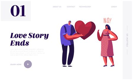 Unrequited One Side Love Website Landing Page. Loving Man Giving Huge Red Heart to Woman Rejecting his Feelings Saying No. People Dating and Parting Web Page Banner. Cartoon Flat Vector Illustration