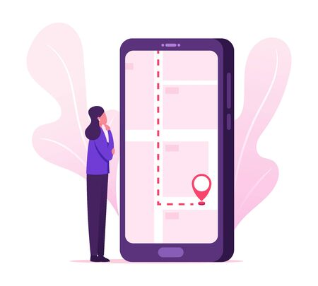 Mobile Navigation Concept. Female Character Using Mobile Phone to Pave the Way Using Application with Satellite Connection on Giant Smartphone with GPS Pin and Map. Cartoon Flat Vector Illustration