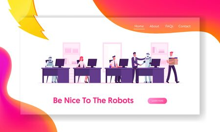 Human and Robots Working Together Website Landing Page. Boss Shaking Hand to Cyborg Invite to Office Job