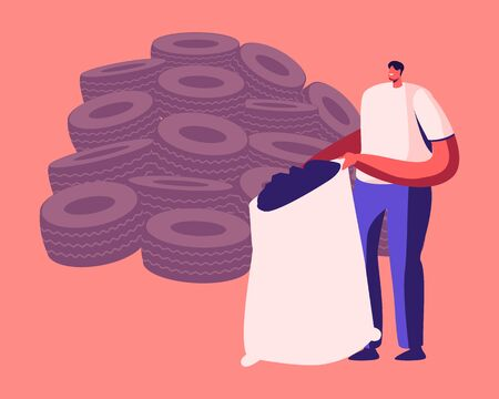 Environment Protection Recycle Industry, Rubber Trash Reuse. Man Stand at Huge Heap of Old Tyres Holding Sack Full of Shredded Automobile Tires. Crushed Car Wheels Cartoon Flat Vector Illustration